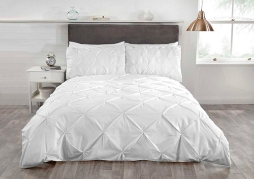 """Balmoral""White pin tucked Contemporary King Duvet set ""Belle Amie"" by Rapport"